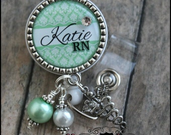 mint green damask...Personalized badge reel with antique silver bezel...pinch clip...nurse,.teacher..id holder.educational staff