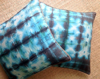SILK DYED PILLOW Cover | Blue & aqua