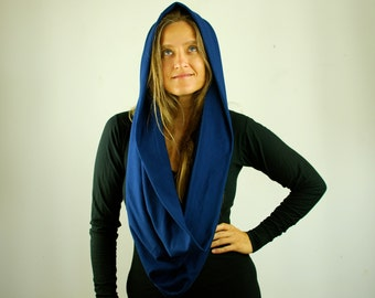 Infinity Scarf - Circle Scarf - Chunky - Circular Loop - Cowl - Sapphire Blue - Organic Cotton Jersey - Organic Clothing