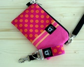 Cute iPhone Case Hip Bag, Set, Crossbody Strap, Back Pocket, Mini Key Fob, Hot Pink and Orange Dots