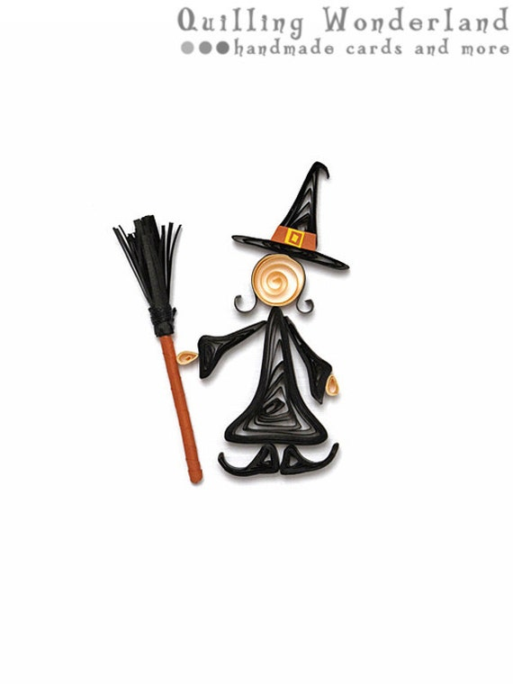 SALE Halloween Best Witches - paper quilling blank card by Quilling Wonderland