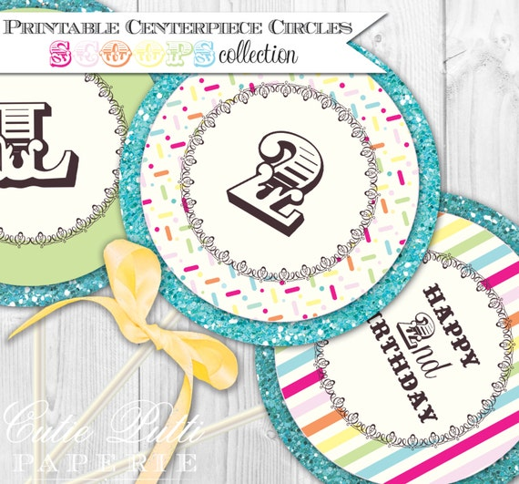 "Ice Cream Party Printable 4"" Custom Party Circles by Cutie Putti Paperie"