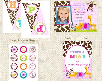 Safari Jungle Girl DIY Printable Birthday Party Pack Party Package