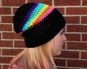 Rainbow Beanie Crochet Slouchy Beanie