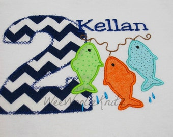 Boys Fish Birthday Shirt Or Bib Personalized Embroidered Applique Fishing 1st 2nd 3rd Girls