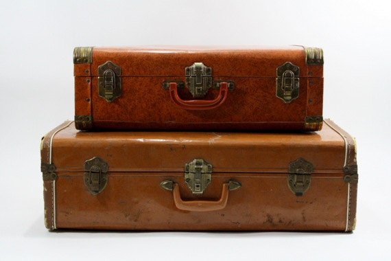 Suitcase / Vintage Stack of Suitcases / Old Suitcase