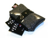 Silver Sparkle Coin Pouch with Your Choice of Trim, Rockabilly Bag, Vinyl Coin Purse - MADE TO ORDER