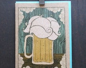 Indie,  glittered, frothy beer card