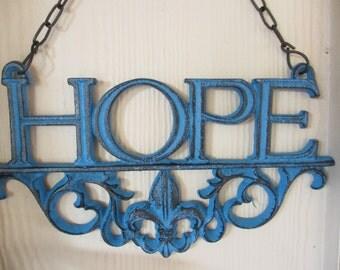 Cast Iron Fleur-de-lis   Hope Plaque, Sign, Blue