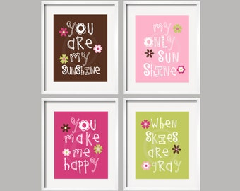 Kids Wall Art You Are My Sunshine Cocalo Taffy 8x10 in chocolate pink raspberry and lime green Nursery Decor baby shower gift ( (GSFG-100)
