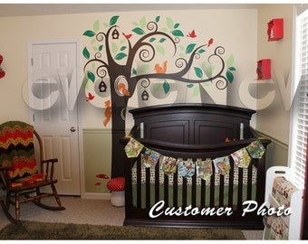 Squirrels Tree Wall Decals and FREE birds - Nursery Wall Decals - TRANMLsqrrls