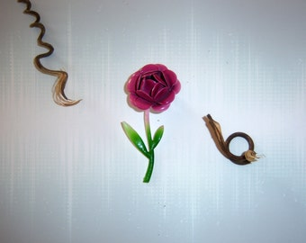 Vintage Pink Rose Enamel Brooch 1960's Original/Marsala