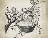 Precious Vintage Unisex Baby Image LARGE Digital Vintage Download Sheet Transfer To Totes Pillows Tea Towels T-Shirts 175