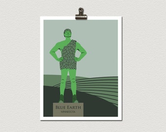Jolly Green Giant Blue Earth Minnesota Roadside Attraction Illustration Travel Poster Print