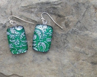 Green and Silver Plume Earrings Fused Dichroic Glass Emerald Green Earrings