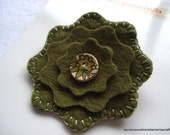 Green Felt Brooch Layered Felt Flower Brooch in Olive Green Christmas Gift Stocking Filler