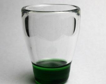 green blown glass shot glass