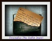 Mens Copper Wallet Card - Hand Stamped - Anniversary Gift Insert Card - 7th Anniversary - 300 character maximum  - Great  Gift!