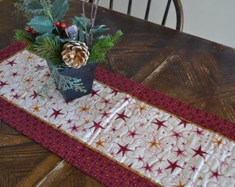Christmas Star Quilted Table Runner, Red and Gold