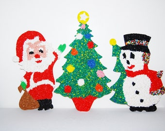 Vintage Christmas Santa with Tree and Snowman Popcorn Decor