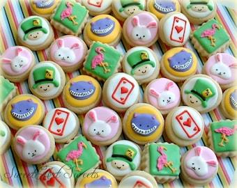 Alice in wonderland cookies - MINI cookies - 2, 3, or 4 dozen decorated cookies - birthday cookies - mad hatter party