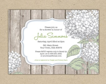 Printed Bridal Shower invitations - Customize. Hydrangea, rustic. Floral design. Baby Shower (1020)