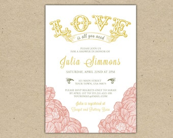 Bridal Shower invitation Customize printable template