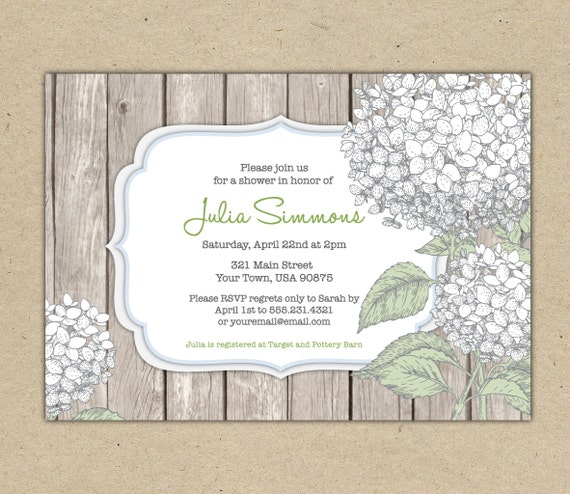 Bridal Shower invitation - Customize. printable template. Hydrangea, rustic. diy. Floral design. Baby Shower (1020)