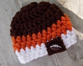Cleveland Browns inspired baby hat- chunky baby boy hat - newborn size - made to order - team sports