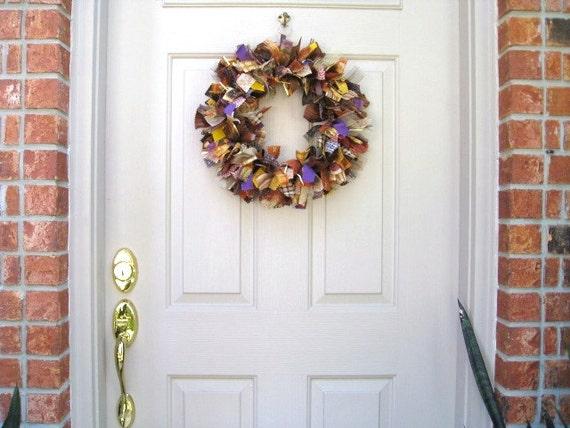 Autumn Wreaths, Halloween Wreath, Fall Wreaths, Fall-O-Ween Fabric Wreath, Ribbon Wreath, Etsy Wreaths, Fall Decor