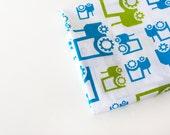 "Children's Fabric Farm theme - Organic- Kids fabric "" Fun Tractors""- 1 yard/  green/grey OR blue/green -fabric by the yard"