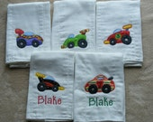 Personalized Race Cars Burp Cloth SINGLES