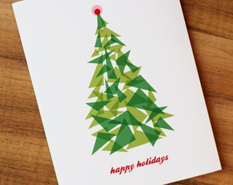 Happy Holidays Christmas Tree Greeting Card - Green and Red