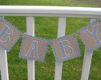 BABY Boy Blue and Cream Polka Dot Pregnancy or Newborn Photo Prop Banner Ready to Ship