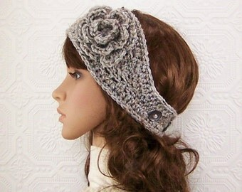 Crochet headband, boho headwrap, ear warmer gray marble - women's Winter Fashion gift for her handmade Sandy Coastal Designs made to order