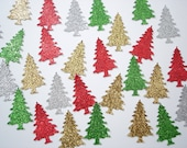 50 Glittered Christmas Evergreen Tree paper punch die cut confetti scrapbook embellishments - No759