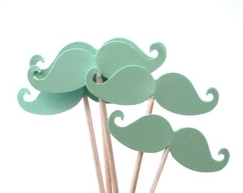 24 Light Green Mustache Party Picks, Cupcake Toppers, Food Picks, Toothpicks, Drink Picks - No181