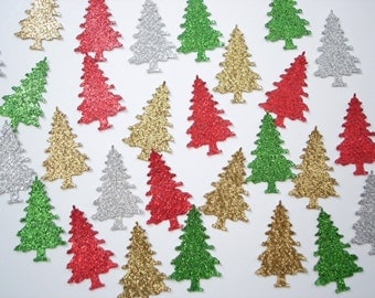50 Glitter Evergreen Tree Confetti, Holiday Party Decorations - No759