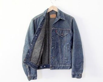 1970s Levis denim jacket, vintage blanket lined jacket, flannel lined jean jacket