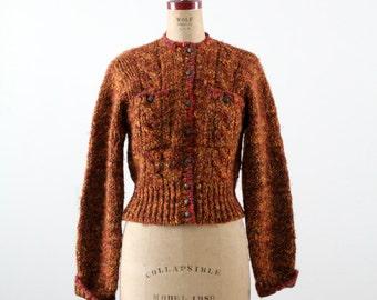 FREE SHIP  vintage 80s knit jacket,  chenille cardigan