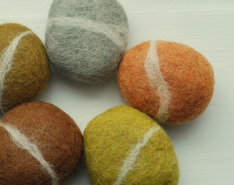 Felted Stones, 5 felted stones grey orange brown grey green ecofriendly decor colorful