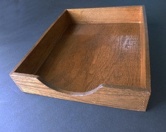 1930's-1940's Office Desk Tray made of wood with dovetail corners