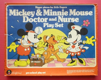 1981 RARE Mickey and Minnie Mouse Doctor and Nurse Colorform Play Set