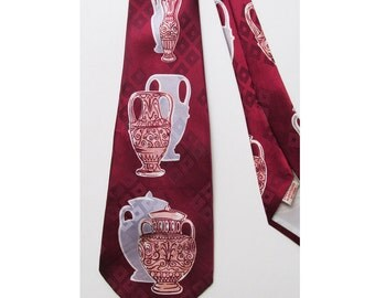 1940's Wide Tie with Pottery - Ceramics - Red - Burgundy - Grey