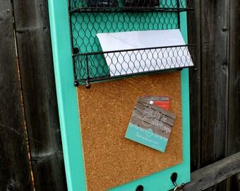 Mail Orgainzer,Corkboard, & Key Hooks - Home Message Organizer - MADE TO ORDER