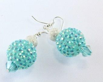 Aqua Disco Bead Earrings, Pave Beads, Basketball Wives Beads