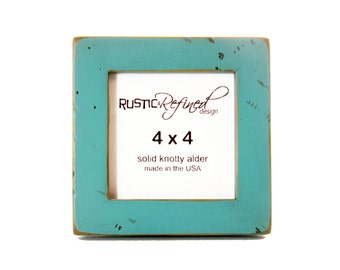 "4x4 (Rustic) Gallery 1"" picture frame - Turquoise (distressed)"