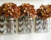 Chevron wall Decor, Mason jar, shabby chic, rustic, chevron stencil, mason jar organizer, kitchen storage, recycled wood,