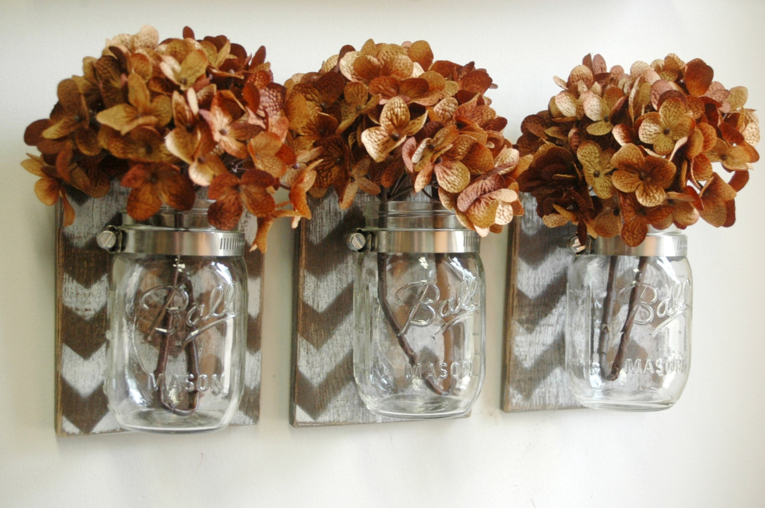 Chevron Wall Decor Mason Jar Farmhouse Decor Fixer Upper Syle Deco Shabby