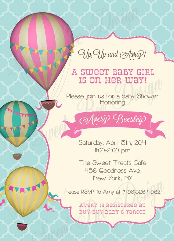 Hot Air Balloon Baby Shower Invitation  Vintage Hot Air Balloon, Hot